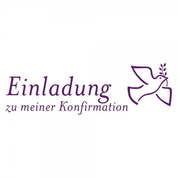 Geburt-Taufe und Kirche Holzstempel - Einladung zur Konfirmation (70x20 mm)