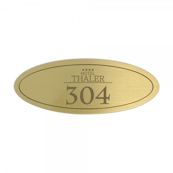Türschild aus Messing oval (50x30 mm - 5 Zeilen)